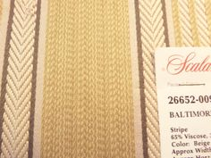 PRODUCT TYPE :  FABRIC  MANUFACTURER: Scalamandre  PATTERN: 26652- 001, 002, 007, 009  NAME:	Baltimore Stripe  COLOR:                  001 - Yellow with #Blue - 1 ... #fabric #supplies #scalamandre #multi #blue #baltimore #stripe #striped #beige #grey #red #brown #aqua #pink