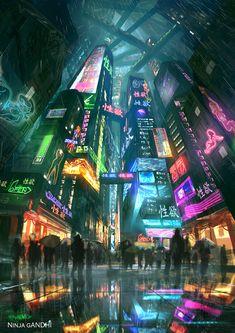 vaporwave city Neon City Lights Digital Art by Pedro Sena From cybervibe Arte Cyberpunk, Cyberpunk City, Ville Cyberpunk, Cyberpunk Aesthetic, Futuristic City, City Aesthetic, Futuristic Architecture, Cyberpunk Anime, Cyberpunk 2077