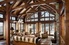 Wide open great room...best feature of a timber frame home