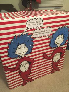 gender reveal box for twins. thing 1 thing 2