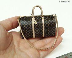 Dollhouse Miniatures (L2) LV Travel Luggage bags 1/12 handmade Bag