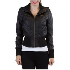 Ambiance Faux Leather Jacket (Size Medium) Faux Black Leather Jacket by brand Ambiance in a size medium. Worn a few times but it is in great condition. Included picture with how it looks on...Outer shell: coating: 100% polyurethane. Backing: 100% rayon. Contrast rib: 99% polyester, 1% spandex. Lining: 100% polyester Ambiance Apparel Jackets & Coats