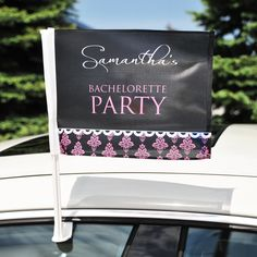 Let everyone know the party has arrived with our Damask Bachelorette Car Flag!    www.tradingvows.com