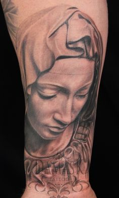In progress Virgin Mary tattoo by Christy Brooker at Damask Tattoo in Seattle, WA.  One more session to go on this one!