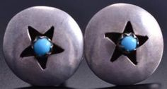 Vintage Silver Turquoise Star Navajo Round Earrings 8B28H