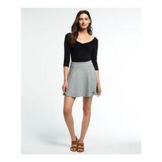 Superdry Christa Jacquard Skater Skirt ($45) ❤ liked on Polyvore featuring skirts, grey, grey skirt, textured skirt, flared skirt, gray skater skirt and jacquard skirt