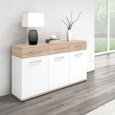 Geneva Modern Wooden Sideboard In Sonoma Oak And White - Dining Room Narrow Sideboard, Dining Room Sideboard, Sideboard Cabinet, Modern Sideboard, Side Board, Sideboards For Sale, Sonoma Oak, Glass Cabinet Doors, Living Room