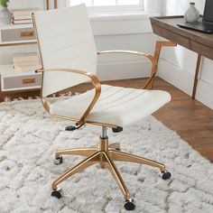 Decorate your home office with the most stylish chair while adding comfort to your busy work schedule.  The Gilded Glam Desk Chair has a sleek channel back and chair that offers lumbar support and a 360 swivel.  Having an adjustable seat, this chair will help you pay your bills or organize your taxes!