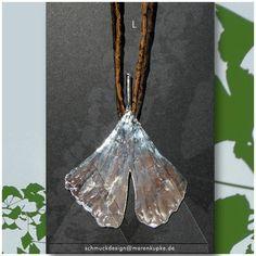 Collier - L Echtes Ginkgoblatt versilbert Seide Collier 1 - ein Designerstück von LianeundEmil bei DaWanda