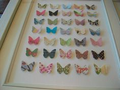 I am such a sentimental sap...I love this idea using all the old cards I have saved/hoarded ;) over the years! All it takes is a butterfly paper punch, and voila! Adorable wall art for a little girl's room. Or with some other paper punch, maybe wall art for our guest room !