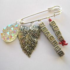 Best Teacher present Brooch butterfly Clip Bag Charm Silver Pin Sparkly Charms £4.00