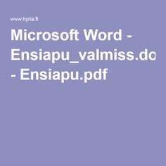 Microsoft Word - Ensiapu_valmiss.doc - Ensiapu.pdf Team Builders, Ice Breakers, Microsoft Word, Education, Words, Pdf, Activities, Icebreakers, Teaching
