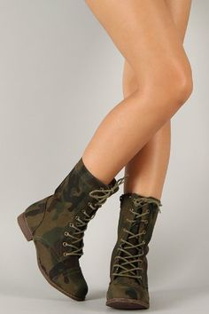 Camouflage Military Inspired Lace Up Mid Calf Boot Olive