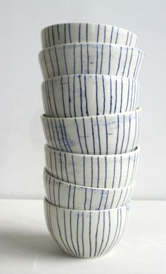 Paula Greif Ceramics — small striped bowls $60