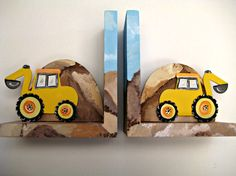 Hand painted wooden bookends with yellow backhoes, to match construction theme bedding on Etsy, $59.00