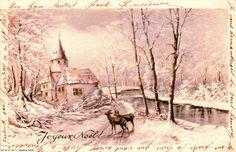 Joyeux Noël ! Paysage enneigé avec chevreuils près d'un manoir le long d'une rivière - 1910