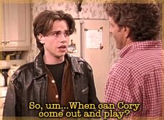 "When he just wanted to hang out with his best friend/soulmate. | Community Post: 37 Times Shawn Hunter From ""Boy Meets World"" Was A Total Dreamboat"