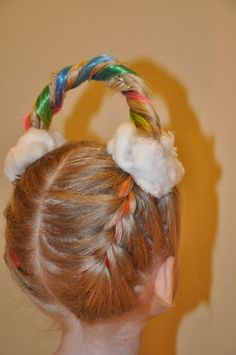 It's crazy hair day at AWANA. I french braided Taylor's hair upside down weaving in two rainbow hair pieces (from the little girls dept at Macys). Then twisted it around floral wire to form a rainbow w/lots of bobby pins. The clouds are just cotton balls. Crazy Hair For Kids, Crazy Hair Day At School, Crazy Hair Days, Hair For Little Girls, Crazy Hair Day Girls, Little Girl Braids, Easy Updo Hairstyles, Hairstyles For School, Crazy Hairstyles