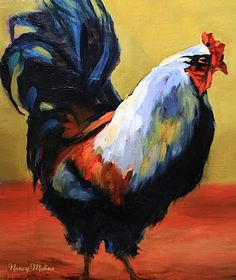 Toreador Red Rooster Painting by Texas Artist Nancy Medina, painting by artist Nancy Medina