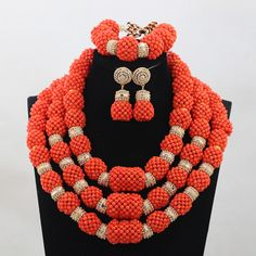 Luxury Handmade Original Coral Beaded Statement Necklace Set African Nigerian Wedding Coral Beads Jewelry