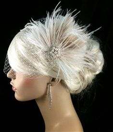 Wedding Bridal Fascinator, Bridal Fascinator, Feather Fascinator , Wedding Veil, Bridal Headpiece, Pearl and Rhinestones - The Couture Bride