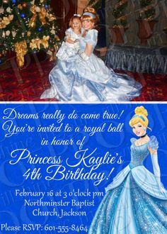 Disney Princess Birthday Invitations, Cinderella Invitation, Snow White Invitation. $10.00, via Etsy.