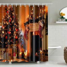 Bathroom Decor Christmas Printed Waterproof Shower Curtain