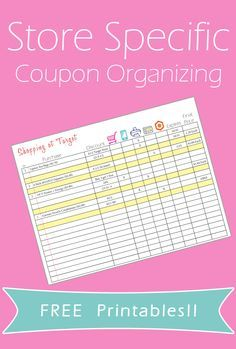 Store Specific Coupon Organizing Printables. Perfect way to organize your coupons by store.