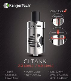 Kanger CLTank Sub Ohm Tank - 4ML  /  Child lock,more safer to your baby.   #efuntop #vaping #ecig      http://www.efun.top/4ml-kanger-cltank.html