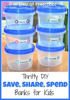 Thrifty DIY Banks for Teaching Kids about Money - In Lieu of Preschool Preschool At Home, Preschool Math, Learning Activities, Activities For Kids, Primary Activities, Learning Centers, Educational Activities, Maths, Teaching Kids