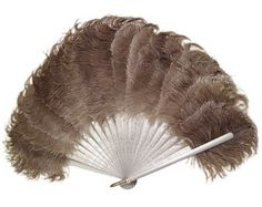 Edwardian Ostrich Fan, Dove Grey Feathers and Silvered Sandalwood, Antique - Art Deco - Victorian - Art Nouveau - Burlesque - Hollywood Regency - Decor