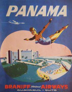 Vintage Airline Poster / Braniff International Airways - Panama / 1963