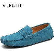 2016 Estilo de Moda de Verano Suave Mocasines Holgazanes Hombres de Marca de Alta Calidad Zapatos de Cuero Genuinos…