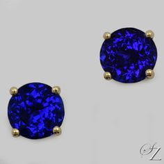 Exceptional, deeply saturated, velvety Tanzanites set classically as stud earrings in yellow gold.  Perfect! Tanzanite Earrings, Tanzanite Gemstone, Gemstone Jewelry, Stud Earrings, Rare Gemstones, Designer Earrings, Jewelry Collection, Yellow, Blue