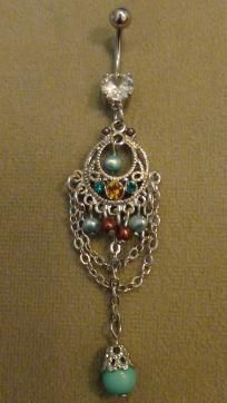 turquoise dangle belly ring   $7  FREE SHIPPING!