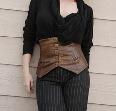 Distressed Leather Corseted Belt, Corset Half-Vest, steampunk, victorian, vintage style OOAK