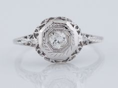 Antique Engagement Ring Art Deco .15ct Old European Cut Diamond in Vintage 14k White Gold. Minneapolis, MN.