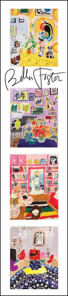 watercolor artist bella foster - love the bold color, patterns, and flatness. childlike mark-making, yet sophisticated and modern composition