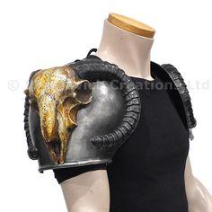 Polyurethane fantasy ramskull shoulder armour for LARP, TV and Film Larp Armor, Knight Armor, Pauldron, Shoulder Armor, Cloak, Plate, Riding Helmets, Fashion Backpack, Armour