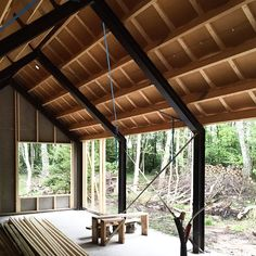 Can't wait to install the large sliding door windows on this side side of the cabin… Steel Frame House, A Frame House, Modern Barn House, Barn House Plans, Building A Cabin, Building Structure, Wexford House, Tiny House Exterior, Steel Frame Construction