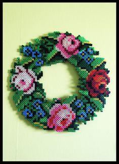 Flower wreath made with hama beads by Eva-Maria Lervik Hama Beads Design, Diy Perler Beads, Hama Beads Patterns, Pearler Beads, Beading Patterns, Iron Beads, Melting Beads, Fuse Beads, Plastic Beads