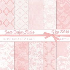 Beautiful and elegant Rose Quartz pink digital papers with lace and quatrefoil patterns for creating Mothers Day cards. The big advantage of using digital papers is that once purchased, you can use them over and over again on your computer. #digitalpaper #mothersday #baerdesignstudio