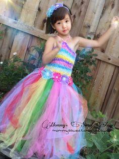 Vestido de arco iris vibrante. Tutú del por MommysSweetAngel