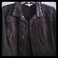 CAbi jean jacket Black jean jacket with beaded collar. Worn only once. Great jacket! CAbi Jackets & Coats Jean Jackets
