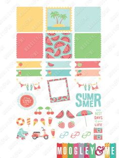 Summer Fun Planner Stickers for your Horizontal or Vertical Erin Condren Life Planner, Happy Planner, or any planner! by MoogleyandMe on Etsy