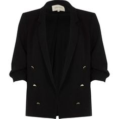 River Island Black ruched sleeve button blazer (6.595 RUB) ❤ liked on Polyvore featuring outerwear, jackets, blazers, black, coats / jackets, women, woven jacket, tall blazer, slim blazer jacket and ruched sleeve blazer