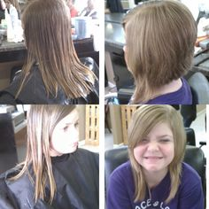 Before and after; Kid dramatic bob.