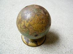 Toy Tin Bank Globe / J Chein by assemblage333 on Etsy, $9.00