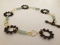 Green Jade and Gear Bracelet by MetalMomJewelry on Etsy, $30.00