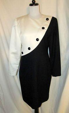 Sz 10 Vtg 80s Carolina Herrera Studio Career Dress White Black Long Sleeves SOLD